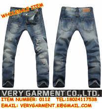 europeo de la moda para hombre pantalones vaqueros rotos los agujeros bolsillos de parche de diseño de marca