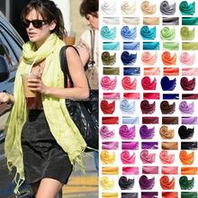 Hot Sale Fringed 70% Pashmina 30% Silk Solid Color Plain Fashion Lady Pashmina Scarf