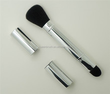 Silver Custom Retractable Makeup Brush Double Ended Metal Brush Retractable
