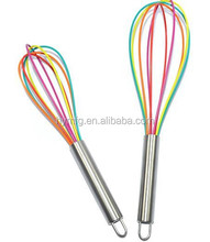 stianless steel handle colorful silicone coated egg whisk