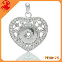Snaps Jewelry,Locket With Snap Pendant,Wholesale Hollow Heart Snap Button Pendant With Stone