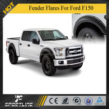 ABS Black Textured Fender Wheel Flares Trim Riveted Front for For R2015 Ford F150 (Fits: Ford F-150)