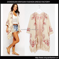 Womens Open Front Cotton Fshion Printed Poncho