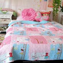 cotton fabric fake blocking 3pc bedding set /bedspread