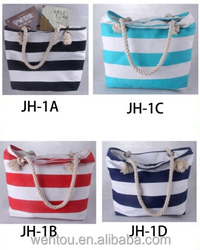 Hot sale stripe canvas beach tote bag in stock