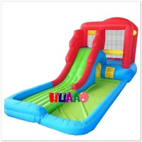 family used air blower inflatable water trampoline park slide for pool toy