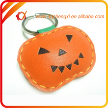 Pumpkin shaped promotional leather keychain for Halloween
