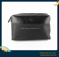 2015 New launch Nylon Men travel toiletry cosmetic bag with leather trim