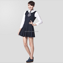 2015 japanese girls long sleeve senior high school skirt uniform latest design beautiful school uniform OEM