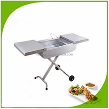 SUS suitcase grill Movable trolley charcoal BBQ Grill barbecue grill