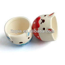 Double rabbite cartoon ceramic dessert cup
