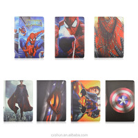 New Arrival Kids Cartoon Super heroes Design Flip Stand For iPad Air 2 For iPad 6 Case with Elastic Belt