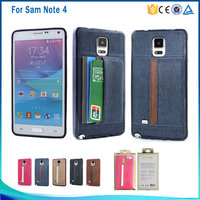 Newest style hot sale protective mobile phone case cover with card slot TPU PU leather for Samsung Galaxy Note4 case cover