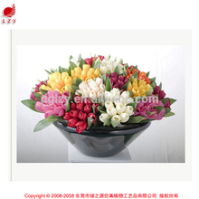 PU real feel handmade flower making artificial tulip flower arrangement