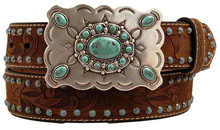 Western Belt Womens Brads Stones Leather Belt genuine leather cowboy belt