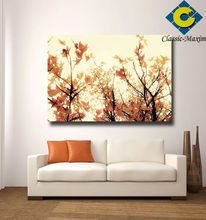 Yellow Maple leaf luxury wall art village scenery painting style