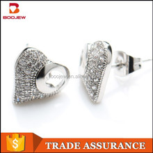 2015 stylish lovely exquisite jewelry 925 sterling silver piercing heart earrings for men and wome