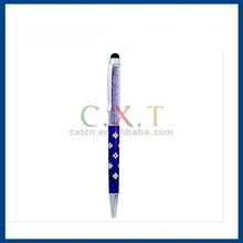 Long Touch Stylus Pen with Crystal Decoration & Ballpoint Pen for Apple Mobile Devices (Purple)