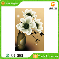 Fashion design 3d crystal diamond decoration flower oil painting