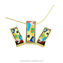 Latest Russian enamel lampwo colorful pendant earrings sets,a variety of kinds wholesale (SWTPR1248)