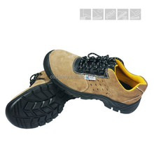 Brown anti-static steel toe safety shoes