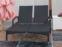 Best quality outdoor double poly rattan garden sun loungers