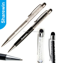 2 in 1 promotional custom crystal stylus ball pen