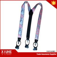 fashion mens printed x shape suspenders belt with flower desgins