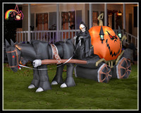 Halloween Inflatable Reaper Carriage with Horse Yard Decorations