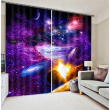 New arrival life line colorful nebula 3d digital Printing 100% polyester room curtain fabric