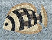 Lovely fish mosaic pattern, rectangle shape mosaic medallion