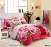 Fashion 3D poly cotton fabric painting latest designs wholesale rose flower 3d print bed sheet