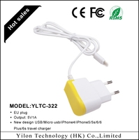 Factory price mobile phone used accessories, 1M length cable flat usb wall charger