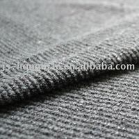 Silver Metallic Yarn Striped Woolen Fabric