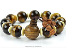 16mm A grade Gold sandalwood Buddha head large size tiger eye stone beaded bracelet jewelry