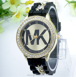 2015 wholesale MK watch fashion and cheap alloy lady MK wrist watch silicone strap