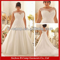WD-2199 Sheer cap sleeves lace appliqued designer pregnant women wedding dress for big women