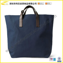 2015 Christmas Leather Top Handles Navy Canvas Tote Bag For Men