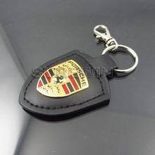 leather key chain with metal enamel car logo