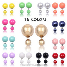 Double face earring candy color balls beads stud earrings jewelry for girl women