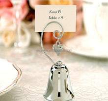 Wedding favors gifts Bell Place Card Holder with Dangling Heart