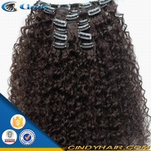 cheap brazilian remy human kinky hair clip on extensions for black women
