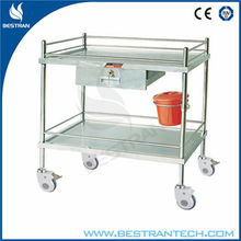 BT-SIT007 304 Stainless Steel two shelves cart for hospital delivery