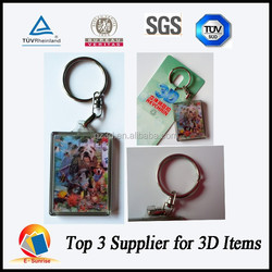 hot china products wholesale 3d key chian with metal ring