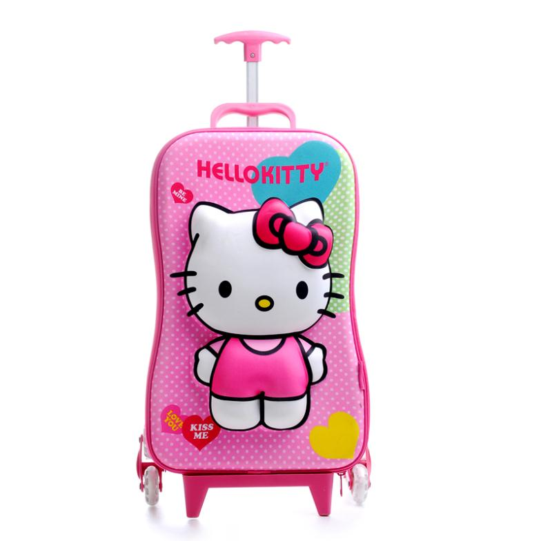 556ef4fdbc1b PINK Princess Hello Kitty Trolley School BAGs Rolling Backpack ...
