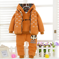 New Sweet Children Winter Clothing Set Girls/boy Suit Vest Jacket + Hoodies +Pants 3pcs 1-4Y Kids Clothes For Baby Girl/boy