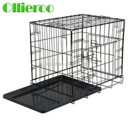 Widely Used Metal Wire Black Color Two Doors Portable Dog Kennel Cage