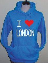 2012 Olympic LONDON LOVE LONDON printed pullover blue fleece sweatshirt hooides