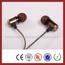 Mobile phone accessories factory in china metal bass earphone/headphone