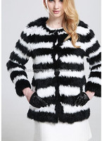 2014 LADIES KNITTED RABBIT FUR JACKET,KNITTED RABBIT FUR GARMENT IN BLACK AND WHITE 2 TONE COLOR EFFECT
